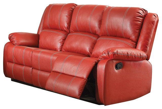 Red Leather Recliner Sofa Contemporary Sofas