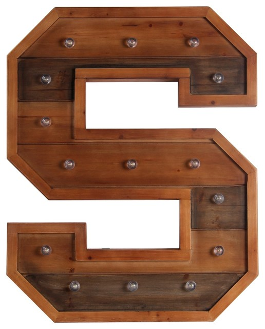 Privilege International Wooden LED Letter, Letter S Rustic Wall Letters