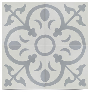 Nador Handmade Cement Tile Grey And White Set Of 12 8