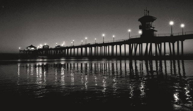 Sunset At Huntington Beach Pier Black And White Photography 12x18