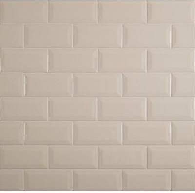 X Almond Glossy Beveled Subway Transitional Wall And Floor - 4x4 almond wall tile