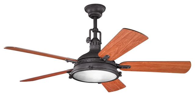 """Hatteras Bay 56"""" Ceiling Fan, Distressed Black."""