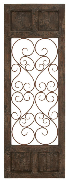 Wood Metal Wall Panel, Dark Brown Color With Classic Style.