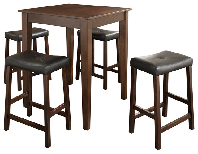 5-Piece Pub Dining Set, Tapered LegUpholstered Saddle Stools, Vintage Mahogany