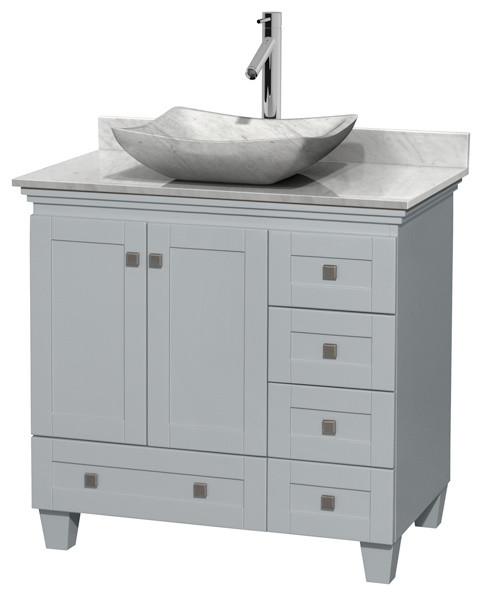 "Acclaim 36"" Oyster Gray Single Vanity, Carrera Marble Top, Avalon Carrera Sink."