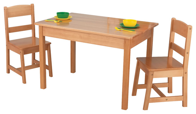 Kidkraft Kids Room Space Saver Rectangle Table And 2 Chair Wooden Set  Natural Contemporary Kids