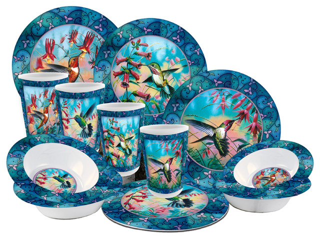 Hummingbird 12-piece Dish Set - Tropical - Dinnerware Sets - by MotorHead  Products 08805e9ec8fc