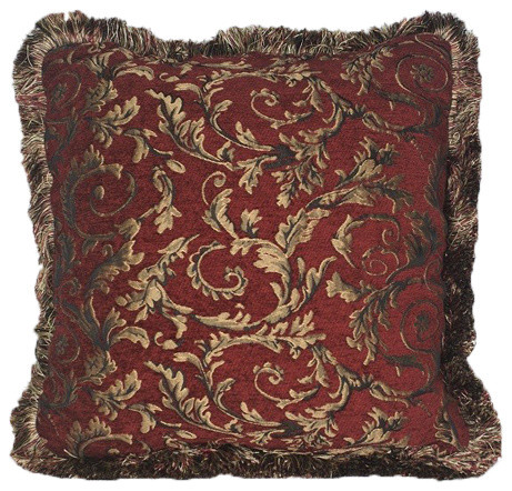 Red Gold Chenille Floral Throw Pillow With Fringe