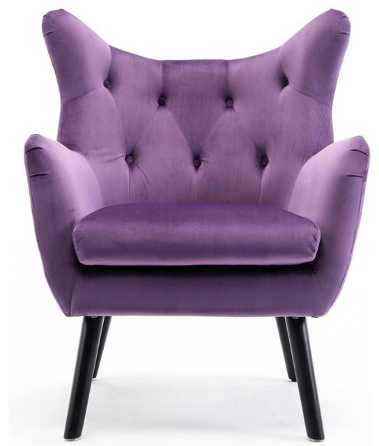 Pleasing Mid Century Tufted Wingback Chair Purple Bralicious Painted Fabric Chair Ideas Braliciousco