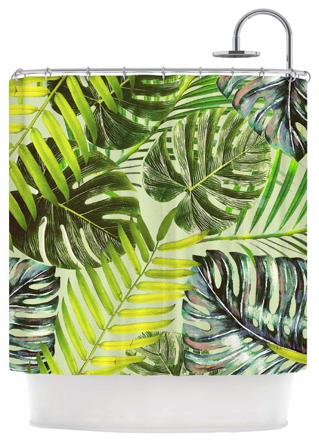 Alison Coxon Jungle Green Yellow Shower Curtain