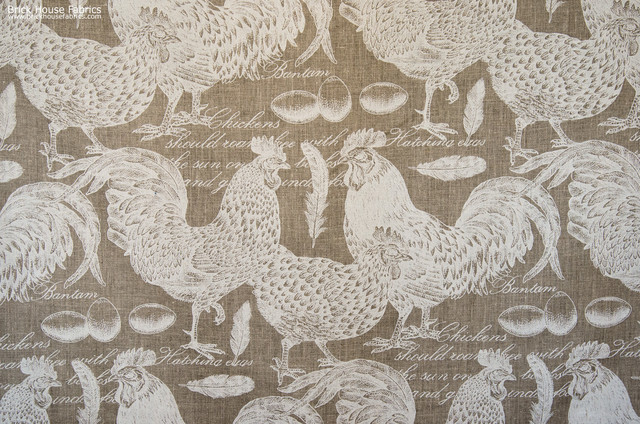 chicken rooster toile fabric documentary script fabric