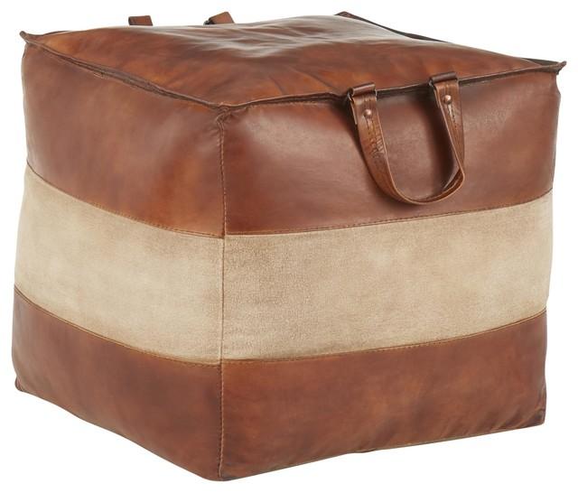 Cobbler Pouf, Brown Leather, Tan Canvas