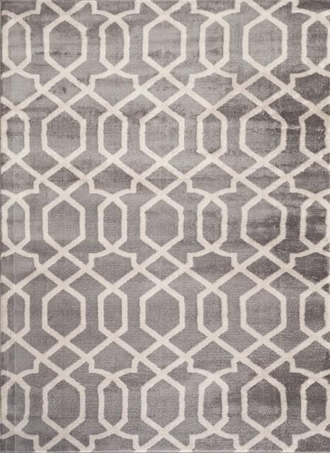 "Contemporary Trellis Design Area Rug, Grey, 63"" X 87""."
