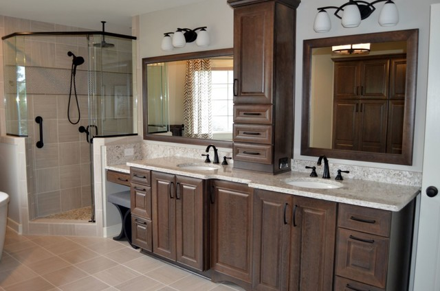 Bathroom Remodel With Cherry Slate Cabinets And Silestone