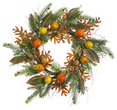 Silk Plants Direct Mixed Oak Leaf, Fruit And Pine Wreath, Set Of 2.