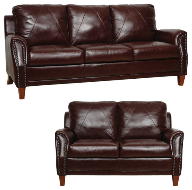 Traditional Sofas Living Room Furniture: LUKE LEATHER FURNITURE Genuine Italian Leather Sofa And