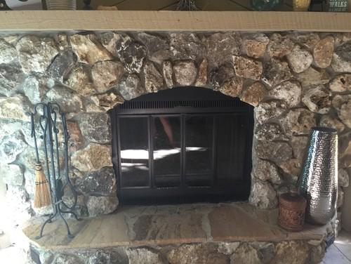 Whitewash stone fireplace?