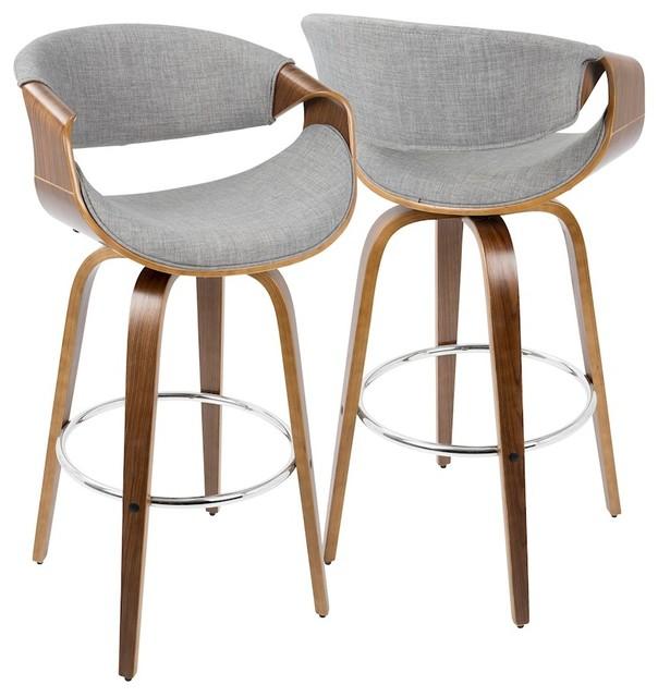 Curvini Mid Century Modern Barstool Walnut Wood And Gray Fabric Set Of 2