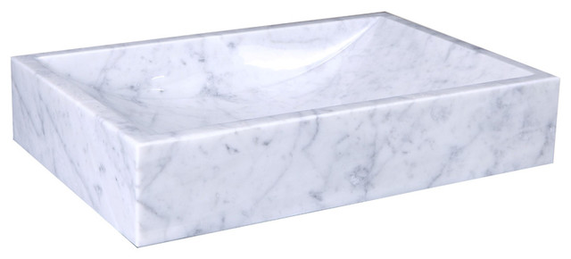 Eros Bathroom Vessel Sink, Bianco Carrara Marble.