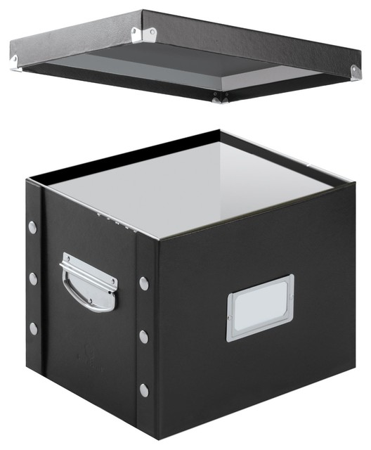 Snap N Letter Size File Box Black Contemporary Storage Bins And