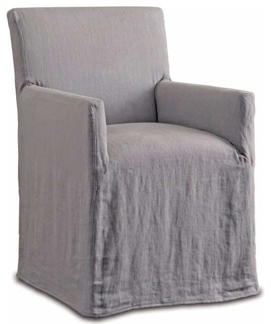 Terry Modern Clic Pewter Linen Slipcover Dining Arm Chair
