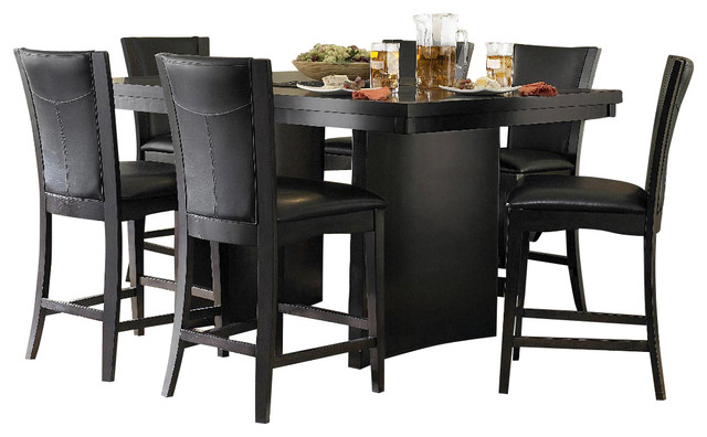 Homelegance Daisy 7 Piece Counter Height Dining Room Set in Espresso  traditional dining