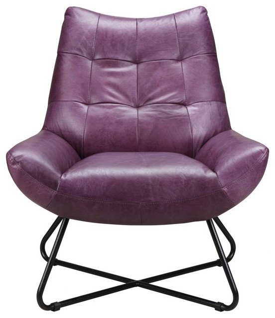Remarkable 32 W Lounge Chair Purple Quilted Top Grain Leather Modern Matte Iron Legs Beatyapartments Chair Design Images Beatyapartmentscom