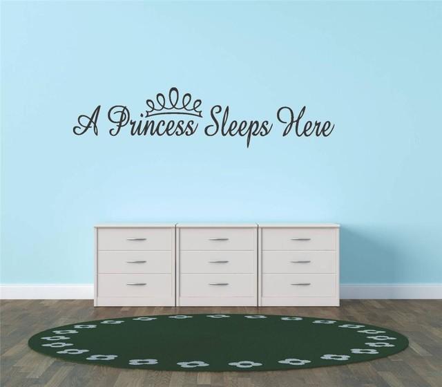 A Princess Sleeps Here Baby Girl Nursery Decal, 10x20
