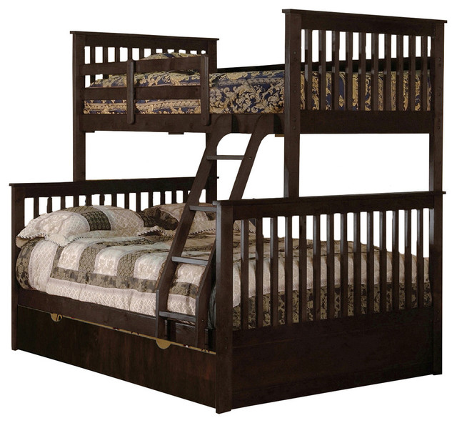wood twin over full bunkbed in espresso transitional