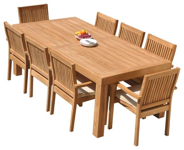 9 Piece Outdoor Teak Dining Set 86, 9 Piece Teak Outdoor Dining Set