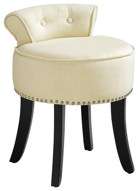 Vanity stools with back Makeup Ludovic Linen Contemporary Nailhead Trim Rolled Back Vanity Stool Transitional Vanity Stools And Benches By Inspired Home Houzz Ludovic Linen Contemporary Nailhead Trim Rolled Back Vanity Stool