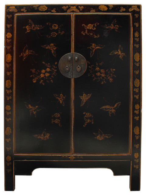 Chinese Distressed Black Color Butterflies Graphic Table Cabinet cs2330 - Asian - Accent Chests ...