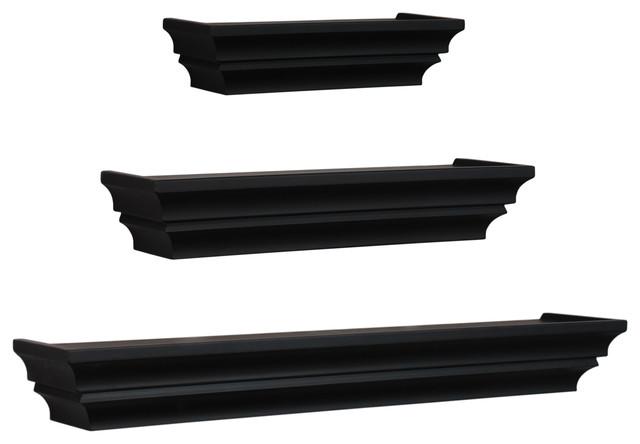 wall shelves set of 3 black contemporary