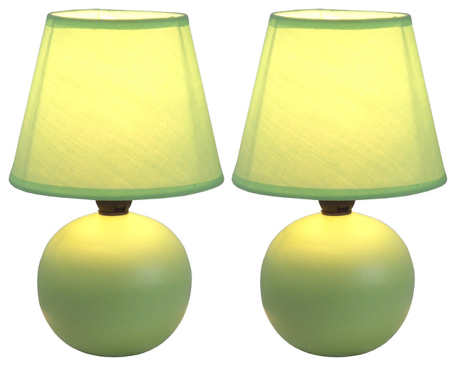 Simple Designs Mini Ceramic Globe Table Lamps, Set Of 2, Green.