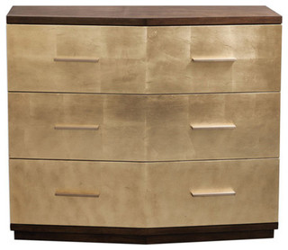 """Warm Walnut Rubber Brass Leaf Accent Chest With Hand Applied Gold Leaf, 38""""x33"""""""