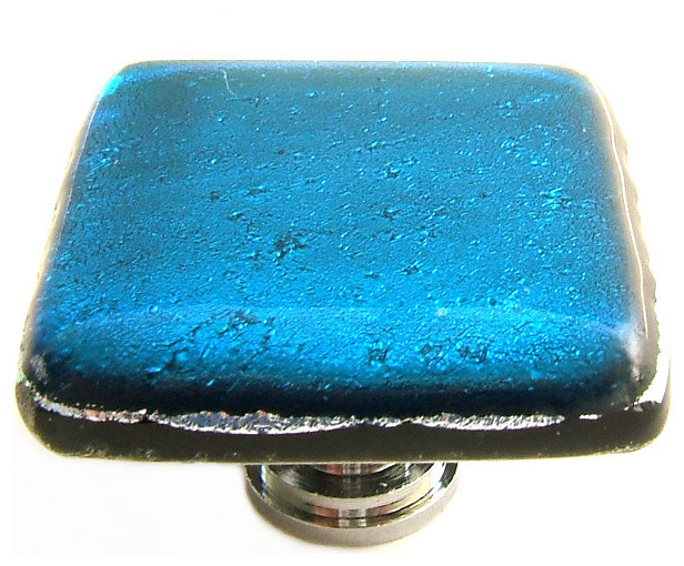 Glass Cabinet Hardware, Deep Turquoise, Dichroic Art Glass - Contemporary - Cabinet And Drawer ...