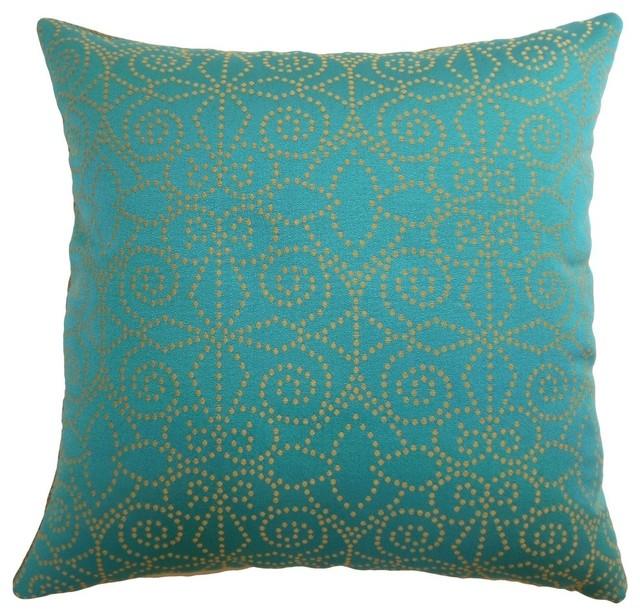 """Makemo Dots Pillow Aqua/gold, 24""""x24""""."""