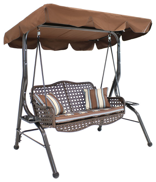 Sunnydaze 2 Seater Rattan Patio Swing With Striped Pillows And Cushion Brown