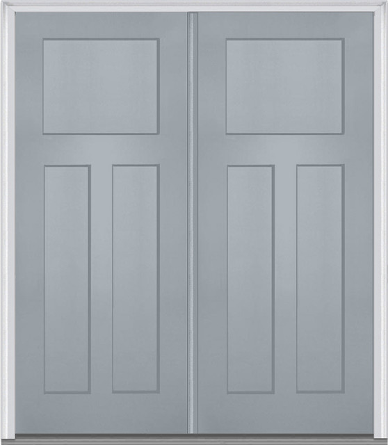 3 panel shaker fiberglass storm cloud double door front for Double entry storm doors