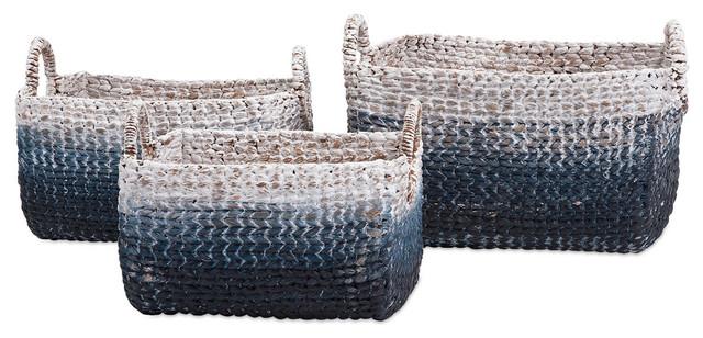 Cascade Woven Water Hyacinth Basket, 3-Piece Set