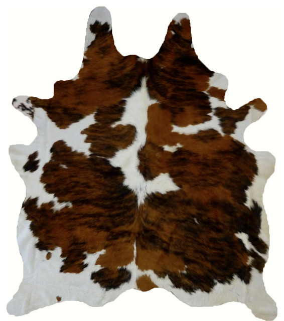 Tricolor Real Cowhide Leather Rug 6&x27;x7&x27; Browns.