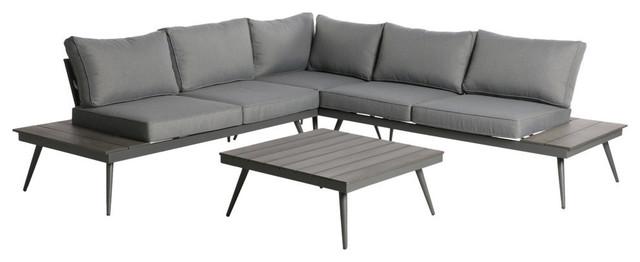 GDF Studio Deborah Outdoor Wood And Aluminum V Shaped 5 Seater Sofa Set,  Gray Fi