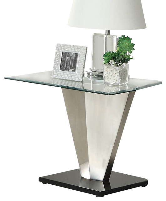 Homelegance Silverstone Square Glass End Table With Brushed Chrome Base  Side Tables And