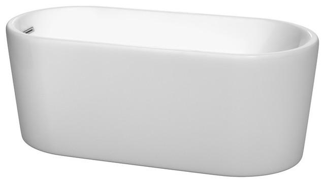 "59"" Freestanding Bathtub, White, Polished Chrome, Drain, Overflow Trim."