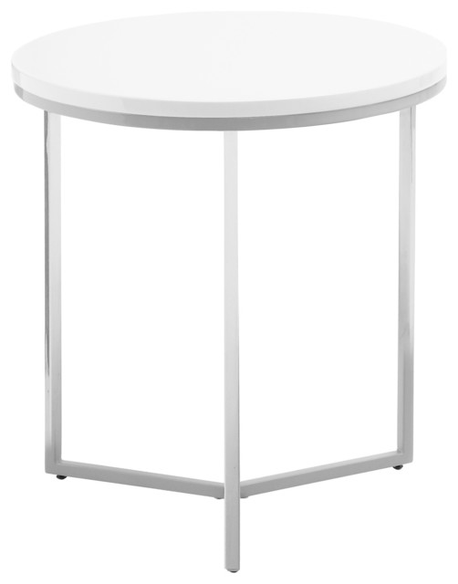 Armani Round End Table, Glossy White Contemporary Side Tables And End