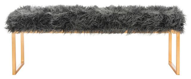 Etta Faux Curly Sheepskin Bench, Gray