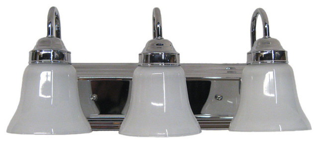 Chrome With Frosted With White Band Glass 3-Light Bath