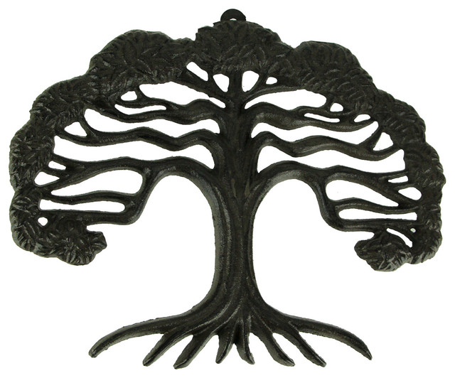 Rustic Brown Cast Iron Tree of Life Wall Sculpture Small