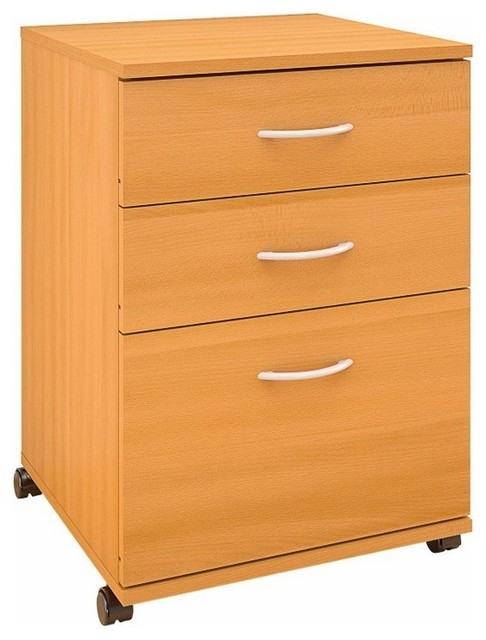 Essentials 3-Drawer Mobile Filing Cabinet, American Beech.