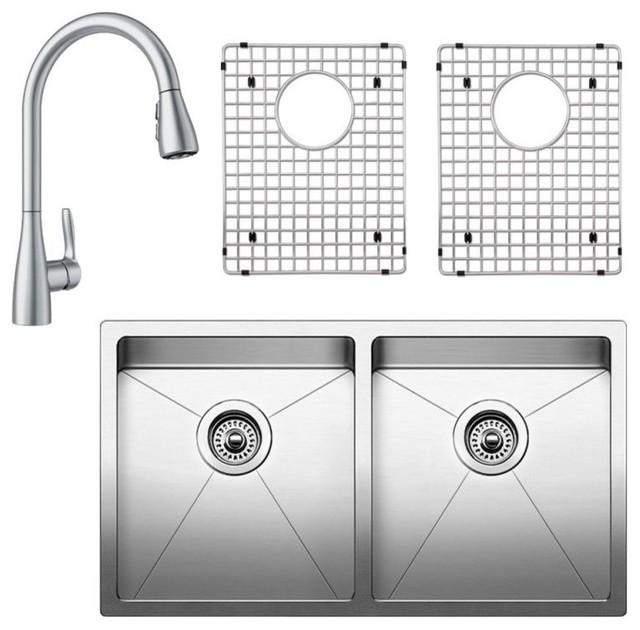 "Blanco Quatrus 18""x32"" Stainless Steel Kitchen Sink Kit, Satin."